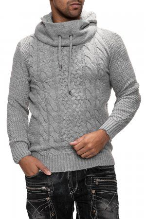 Carisma Men's Knitted Pullover With Hood 7120 Light Grey