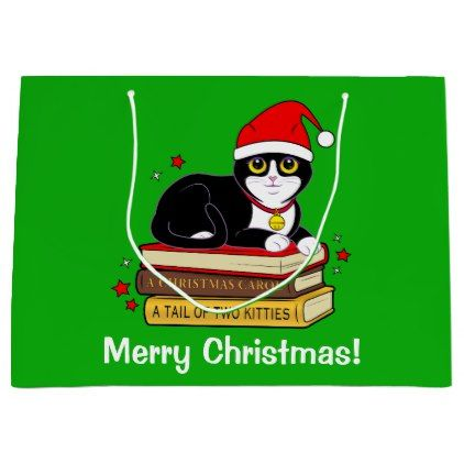 #Tuxedo Christmas Cat with Bell and Books Large Gift Bag - #Xmas #ChristmasEve Christmas Eve #Christmas #merry #xmas #family #kids #gifts #holidays #Santa