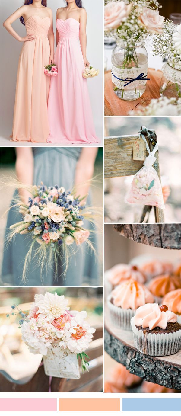 rose and pink wedding color combo ideas and long bridesmaid dresses 2015