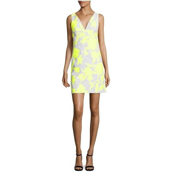 Milly Neon Floral Jacquard Mini Dress (€355) ❤ liked on Polyvore featuring dresses, neon yellow, short, white day dress, mini dress, neon yellow dress, short white dresses and neon dress