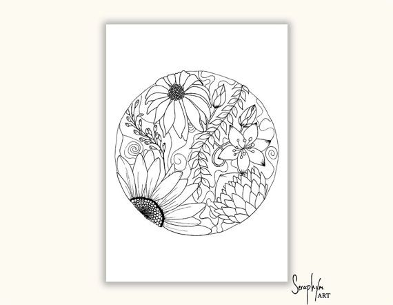 Adult Coloring Pages -  TWO Printable Colouring Pages, Color in, PDF printable, Zentangle, Flowers, Black Background - Download only