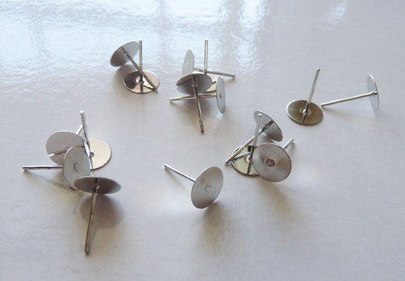 ce043bd4a 100x Earring Studs, 8mm Flat Back Earring Studs, Surgical Steel Ear ...