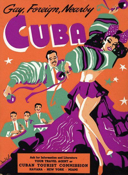 Vintage advertisement for travel to Caribbean island of Cuba!
