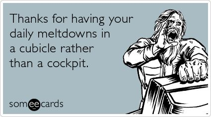 Thanks for having your daily meltdowns in a cubicle rather than a cockpit.: Co Work, Gifts Cards, Http Www Someecards Com, Agent Humor, Humor M, Airline Humor Wisdom, Funny Hahah, Airline Humorwisdom, Cubicles Decor