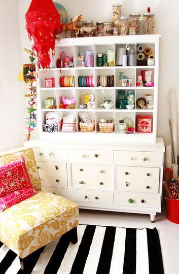 This craft organization cabinet is awesome.  Everything is in it's place and tidy.... laundry room?? Surprisingly i will have the space.. I might need to hit up some yard sales soon...