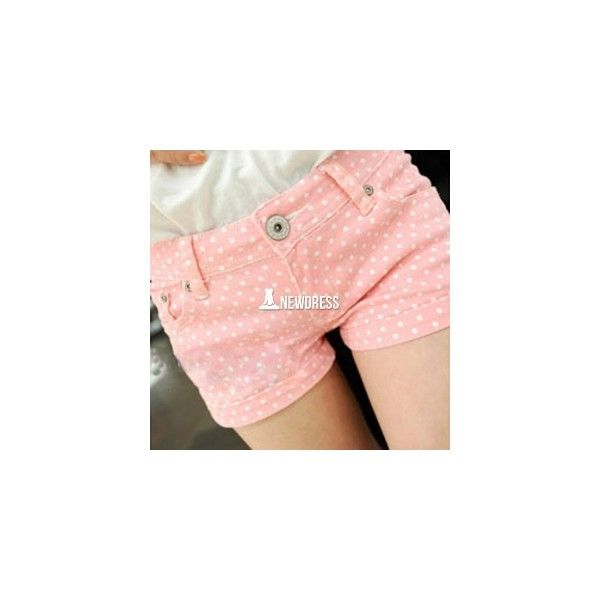 Korean Fashion Women Casual Candy Color Polka Dot Slim Shorts (5.92 AUD) ❤ liked on Polyvore featuring shorts, dotted shorts, polka dot shorts, slim fit shorts and slim shorts