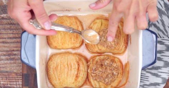 Запеченные яблоки с корицей и овсяными хлопьями. Отличный десерт на скорую руку… - life4women.ru
