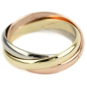 First created in 1924, the Cartier Trinity collection features three interlocking bands of white, yellow, and rose gold.  Each color of 18K gold in a Trinity ring is said to represent one of the aspects of a relationship:  The white gold band symbolizes enduring friendship .  The yellow gold band is said to represent the loyalty or fidelity of marriage.  The rose gold band stands for true love.