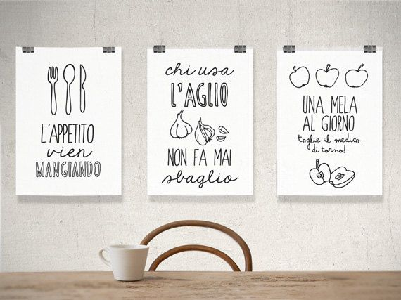 italian kitchen poster, kitchen art print, italian poster, italian art, italian quote, set of prints on Etsy, $58.90 AUD
