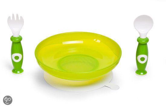 Childhome - Plastic Bord + Bestek - Groen & Wit