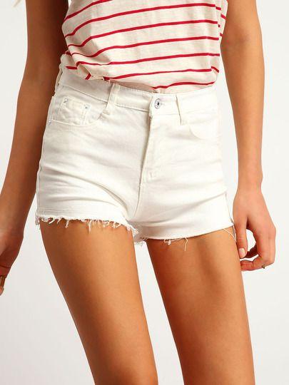 Pantaloncini corti con frange tasche bianchi