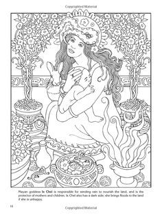 goddesses coloring book page by dover