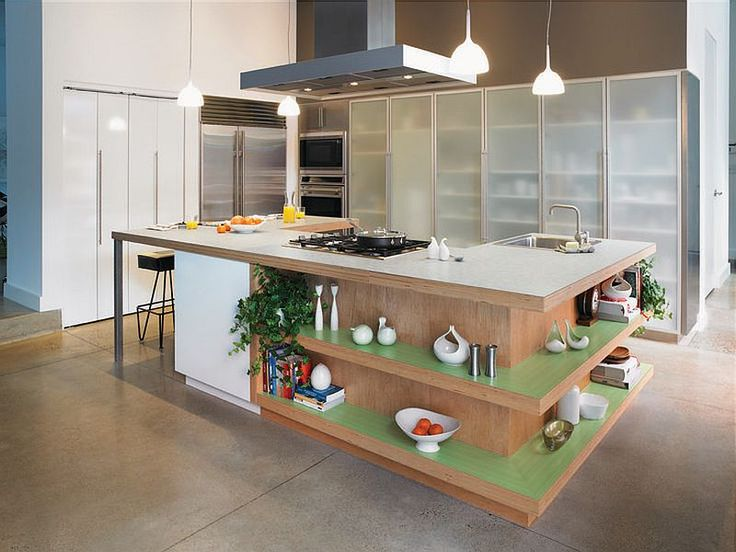 Fabulous kitchen island with open shelves Formica laminate worktop and ergonomic prep zone Trendy Display: 50 Kitchen Islands with Open Shelving