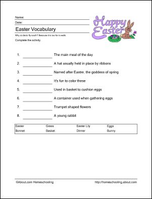 Primary homework help easter