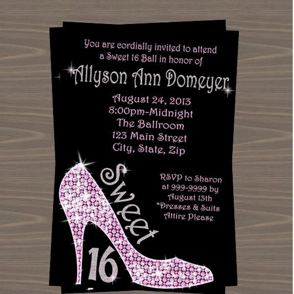 Sweet 16 Glitter High Heels Party invitation | Top Party ...