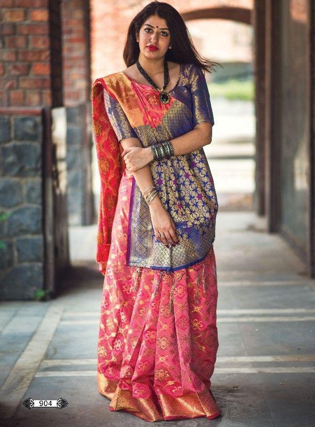 c3f240cbfc Banarasi Weaving Patola With Heavy Rich Zari Pallu Saree (7 Pc Set ...