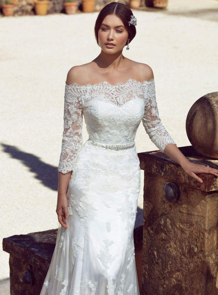 Caprie Full of romance and oozing beauty and natural elegance, this classic Spanish style lace wedding dress is breathtaking. Featuring sheer, long lace sle