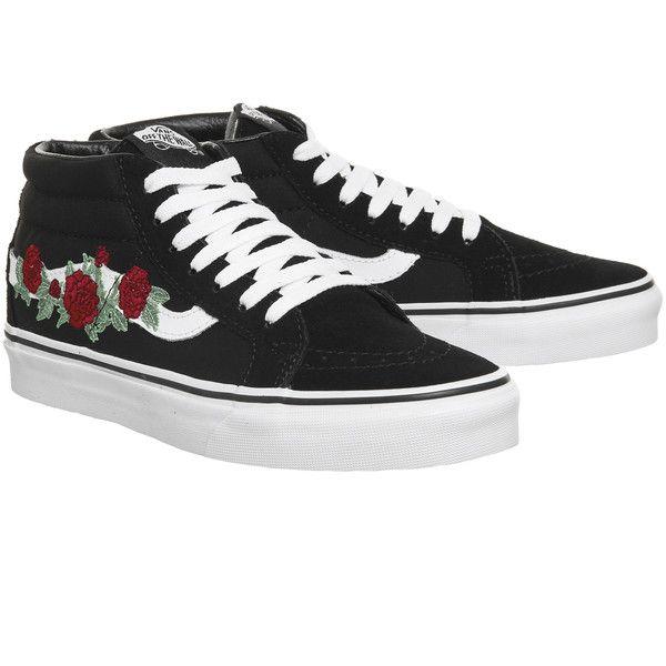 Vans sk8 mid, Rosette shoes, Black sneakers