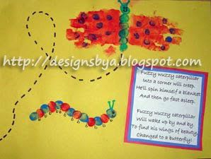 May Handprint Butterfly and Thumbprint Caterpillar - Fun Handprint Art