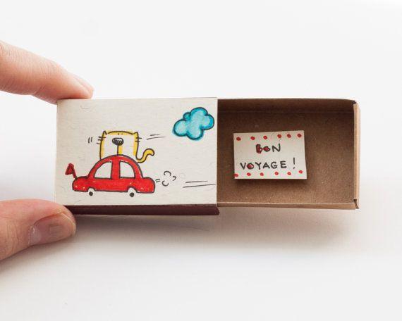 Bon Voyage Greeting Card Matchbox / boîte de cadeau par shop3xu