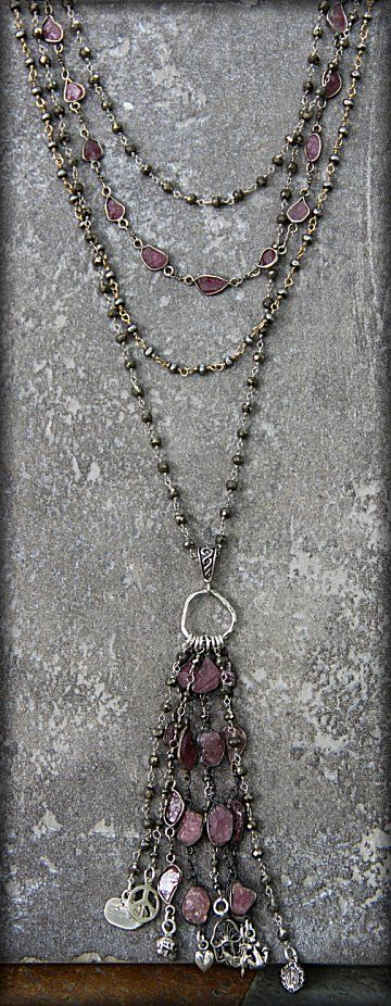 Safia Day 4 Strand Raw Sapphire and Pyrite Necklace with Charms