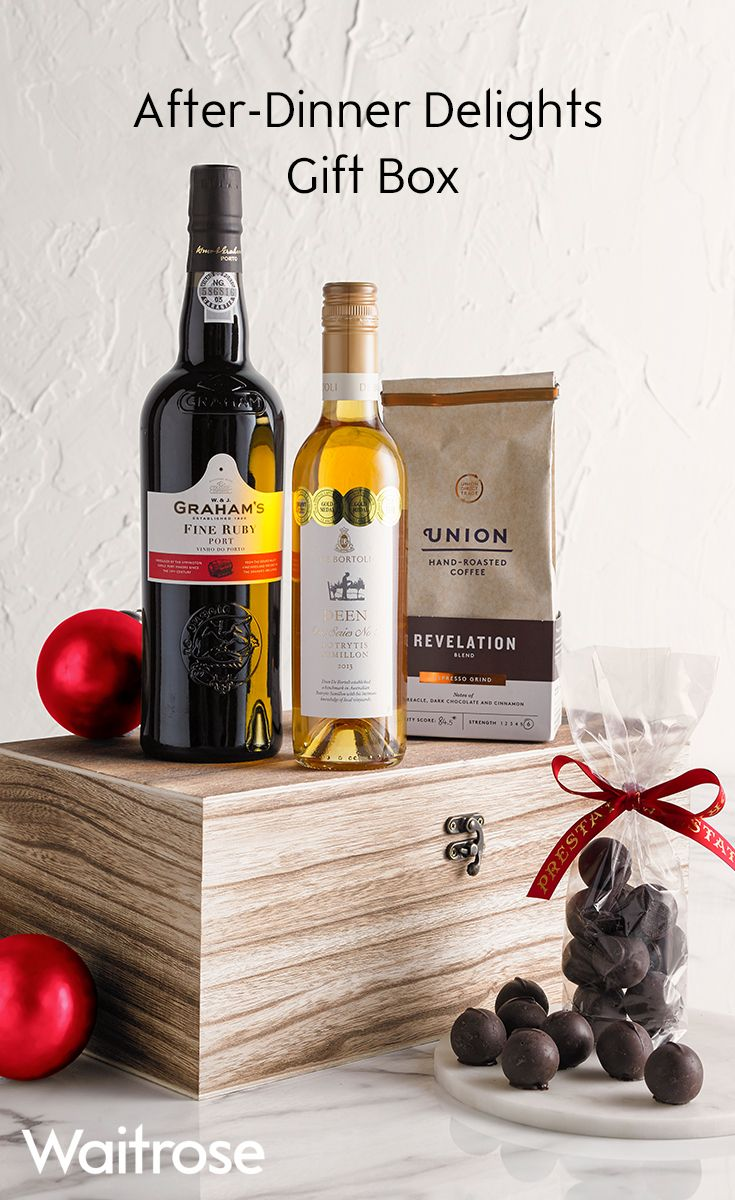 Finish off your Christmas dinner right with this delightful box filled with port, coffee, wine and chocolates. There really is something for everyone!  For more delicious hampers, see the Waitrose Gifts website.