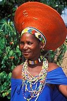 Zulu married woman wearing a traditional hat, Kwazulu_Natal, South Africa ...