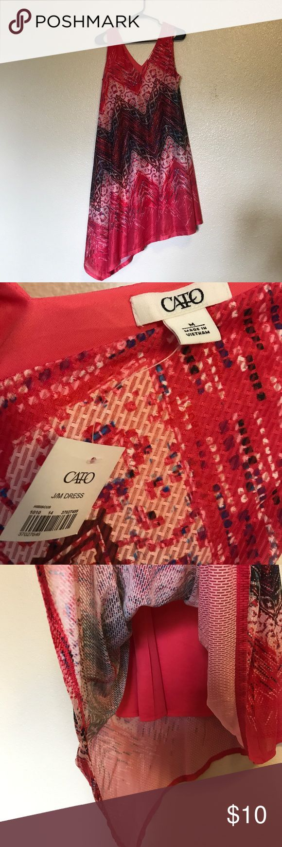 NWT! Beautiful flowy summer dress! Super cute and colorful flowy summer dress. Light airy material, lining underneath. V neck and V back. Longer at the one side. Flows beautifully for the beach or can easily be dressed up too! New with tags! CATO Dresses Asymmetrical