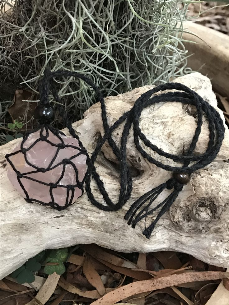 Hemp rope cage necklace, lots of styles and colours. #Hemp #Gemstones #Jewellery #Crystals Available at www.awakencrystals.com