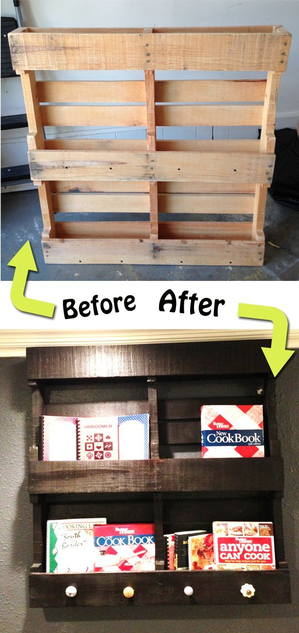Wood pallet makeover. This is one of the best I've seen! What a great way to create storage in a small space. For Nohea's books!