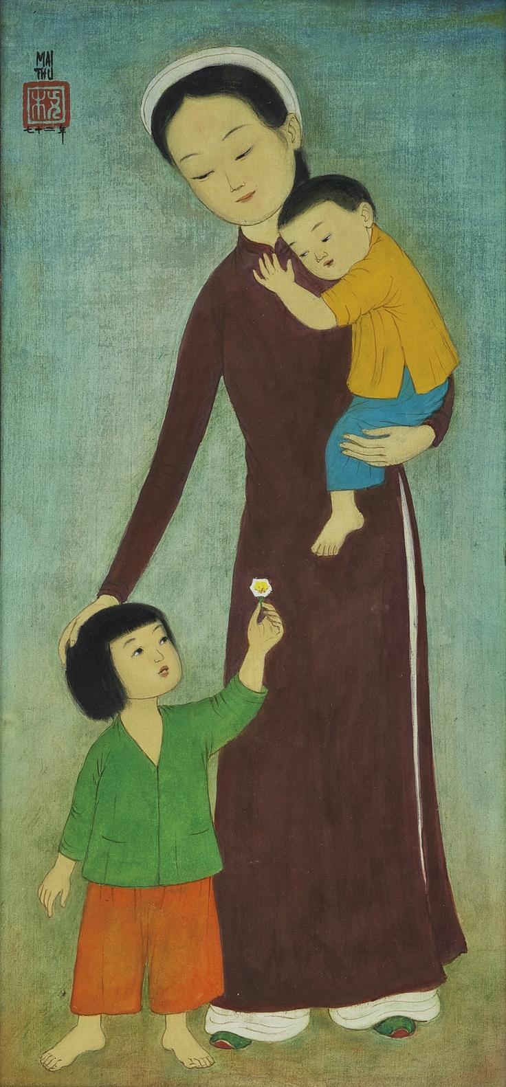 MAI TRUNG THU  1906-1980  FILLE ET GARCON AVEC MAMAN (MOTHER AND CHILDREN)
