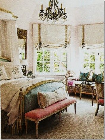 The chandelier!French Bedrooms, Beds, Windows Covers, Romans Shades, Bedrooms Design, Master Bedrooms, Bedrooms Decor, Windows Treatments, Beautiful Bedrooms