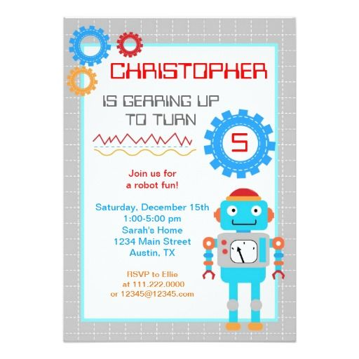 407 best Robot Birthday Party Invitations images on Pinterest - fresh invitation card for birthday online
