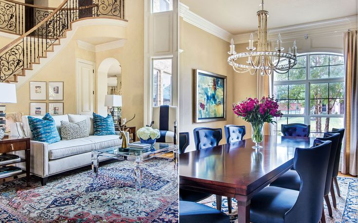 Blue based redesign blends traditional with fresh d cor for Redesign living room ideas