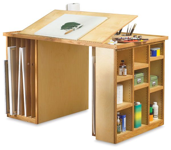Really handy basic work station with canvas and sketchpad storage. It might be better to build my own. More customizable.