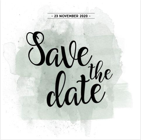 Unieke vierkante save the date kaart voor jullie huwelijk met olijfgroene watercolour brushes effect en mooie sierletters! Alles is om te kleuren en zelf te maken! Meerdere brushes staan in de beeldbank! Gratis verzending in Nederland en België. Enveloppen zijn los bij te bestellen.