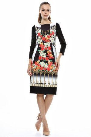 Rochie tricot imprimat cu maneci si spate negru contrast.