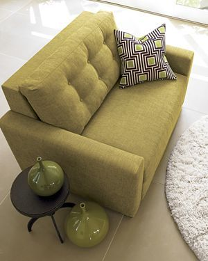 Love this small love seat in citron | Crate and Barrel