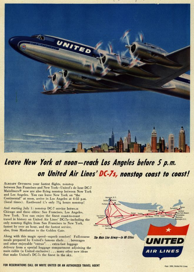 United Air Line's DC7s Leave New York at noon reach