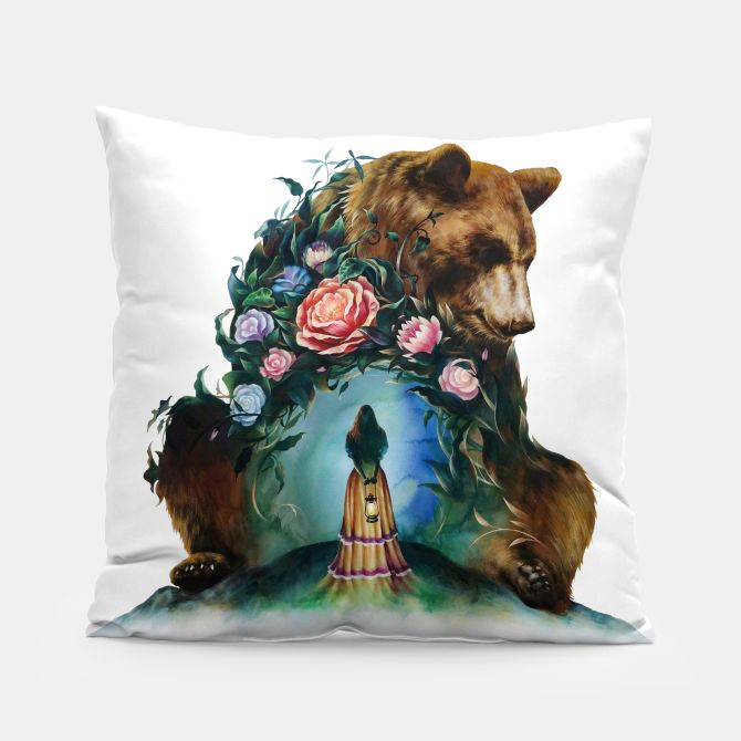 FLOWERS & BEAR Pillow, Live Heroes
