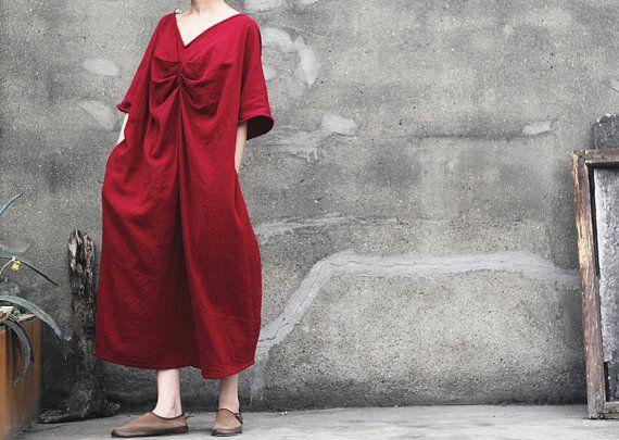 Abito lungo rosso, più la dimensione Maxi Abito, estate cotone, donna premaman, cotone camicetta abito lino, lino abbigliamento