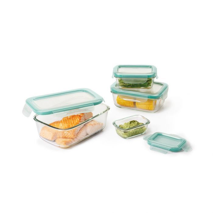 Good Grips 8 Piece Smart Seal Glass Rectangle Container Set With Images Glass Food Storage Containers Glass Food Storage Food Storage Container Set