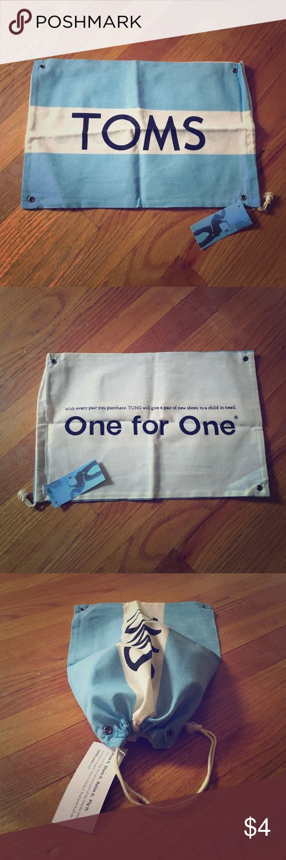 TOMS flag Flag that used to come with every pair of Toms shoes. I don't think they are available anymore! It also acts as a cinchable bag for the shoes or anything you'd want to put in it :) I have two. One has tags, while the other doesn't. The small one does not act as a bag. Bundle to save! All packaging material is recycled ♻️ TOMS Bags