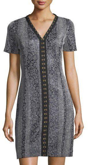 T Tahari Sofia V-Neck Hook-Trim Dress