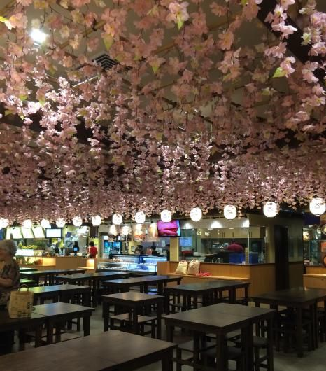Cherry blossoms hang from the ceiling in the Gourmet Plaza section of the new Shirokiya Japan Village Walk at the Ala Moana Center in Honolulu. All photos by the author.   6 delicious eateries inside Oahu's new Shirokiya Japan Village Walk