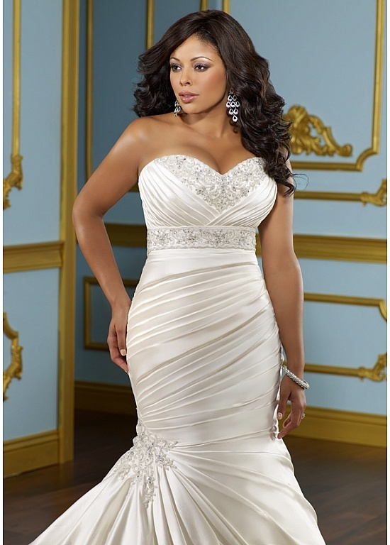 Glamorous satin mermaid sweetheart neckline plus size for Plus size wedding dresses mermaid style