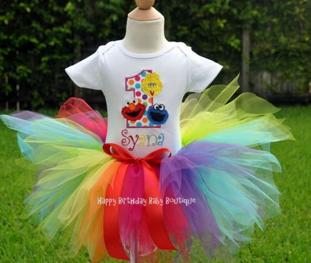 Girls Birthday Sesame Street Gang Number Tutu Set - I would have to make it because we are NOT paying $65 for a birthday outfit!!