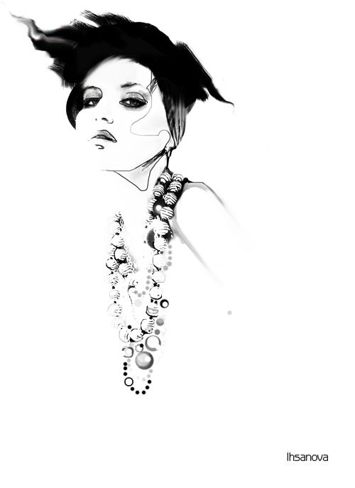 Fashion illustration - stylish fashion & jewellery drawing // Svetlana Ihsanova