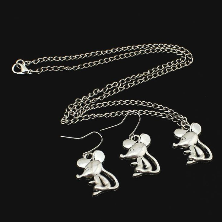 "2016 New Fashion Women Jewelry Set Vintage Silver Mouse Earring&Necklace 18"" ED4460 Kids girls GiftFree Shipping"