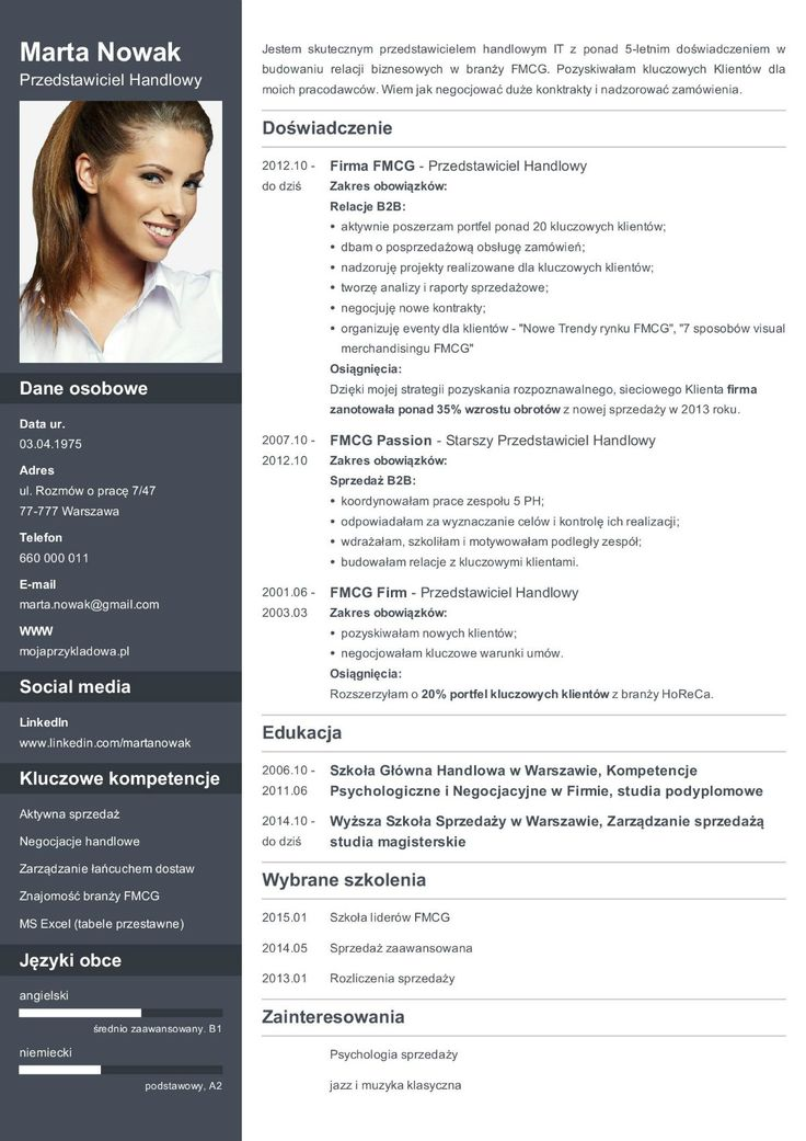 wzór CV przedstawiciel handlowy Curriculum vitae, Resume